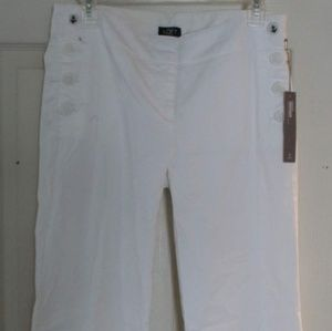 White Ann Taylor Loft slacks - nautical buttons